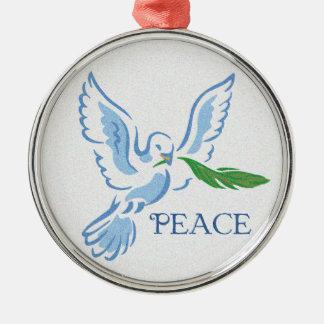 Paz en el ornamento de la paloma de la tierra adorno navideño redondo de metal
