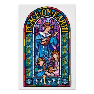 Paz en el poster del navidad del vitral de la