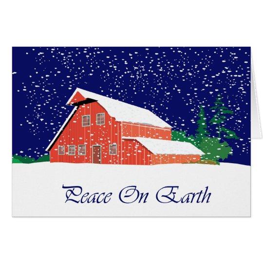 Paz en granero de la tierra tarjeta de felicitación