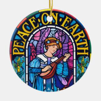Paz en la decoración de cerámica del vitral de la