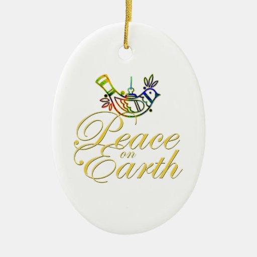 Paz en paloma de la tierra ornamentos de navidad