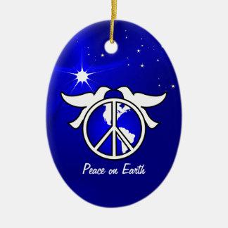 Paz en plantilla del ornamento del navidad de la adorno ovalado de cerámica
