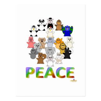 Paz Huggable del signo de la paz de los animales Postales
