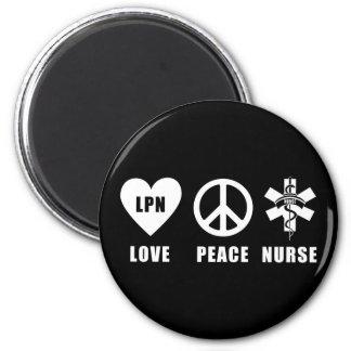 Paz LPN del amor Imán De Nevera