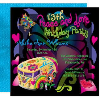 Paz retra de los años 60 y décimotercero fiesta de invitación 13,3 cm x 13,3cm