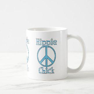 Paz retra de los lunares y de las rayas del pollue tazas de café