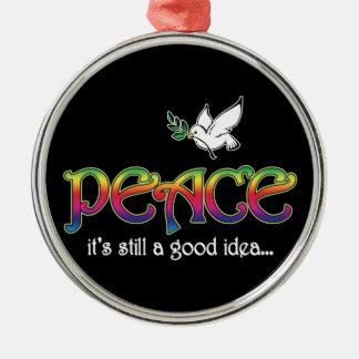 Paz - sigue siendo una buena idea adorno navideño redondo de metal