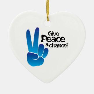 Paz una ocasión adorno de cerámica en forma de corazón