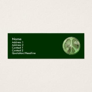 Paz verde en tarjeta del perfil de la tierra