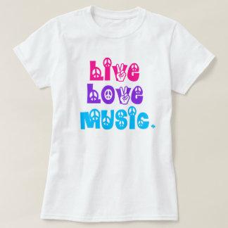 Paz viva de la música del amor camisas