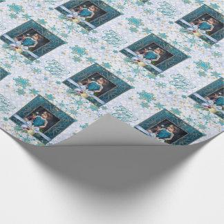 Paz y alegría en azul con su foto papel de regalo