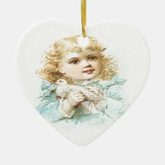 Paz y amor adorno navideño de cerámica en forma de corazón