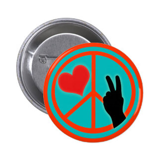 Paz y amor del signo de la paz chapa redonda de 5 cm