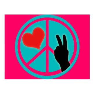Paz y amor del signo de la paz postal