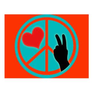 Paz y amor del signo de la paz tarjetas postales