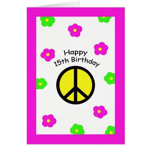Paz y décimo quinta tarjeta de cumpleaños de las f