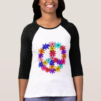 Paz y flower power camiseta
