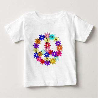 Paz y flower power camiseta de bebé