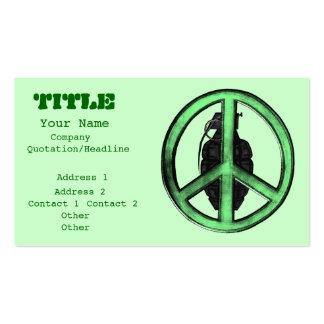 Paz y guerra (verde/gris del metal de arma) tarjetas de visita