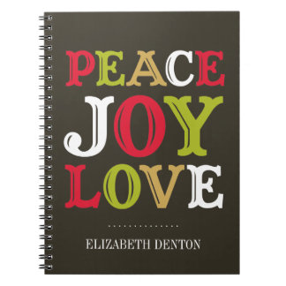 PEACE JOY LOVE typography holiday personal journal Notebook