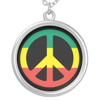 peace rasta cadena colgante redondo