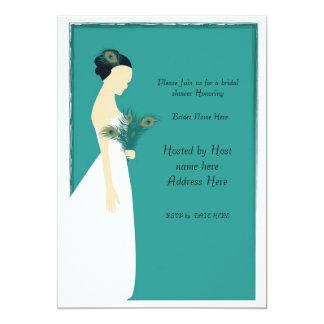 peacock_bridal_invite-01, se unen a por favor nos invitación 12,7 x 17,8 cm