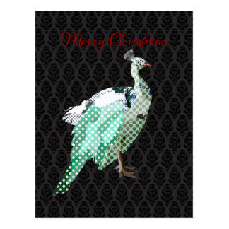 Peacock Postcard Black  Christmas