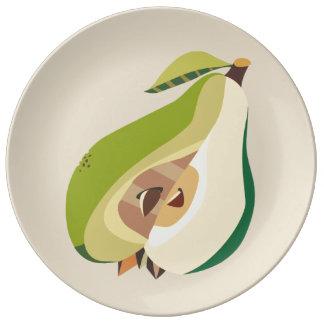 Pear fruit illustration plato de porcelana