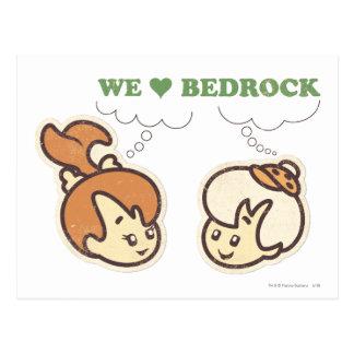 PEBBLES™ y roca de fondo del amor del Bam Bam Postal