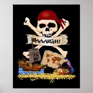 Pecho alegre de Rogelio, del barco pirata y del Póster