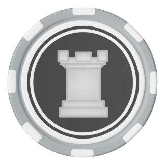 Pedazo de ajedrez blanco del grajo juego de fichas de póquer