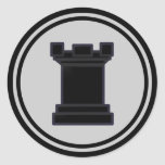 Pedazo de ajedrez negro del grajo pegatina redonda