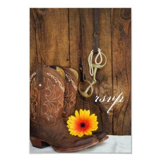 Pedazo de las botas de vaquero, de la margarita y invitación 8,9 x 12,7 cm
