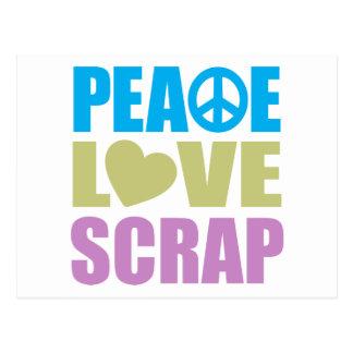 Pedazo del amor de la paz tarjetas postales
