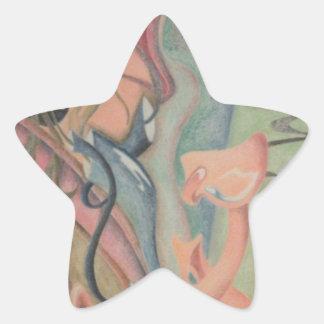 Pedazo del rompecabezas pegatina en forma de estrella