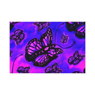 Pedazo púrpura y rosado de la lona de la mariposa impresión en lienzo
