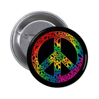 Pedazos del arco iris de paz chapa redonda de 5 cm