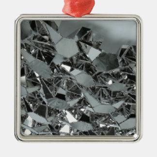 Pedazos rotos de cristal adorno navideño cuadrado de metal