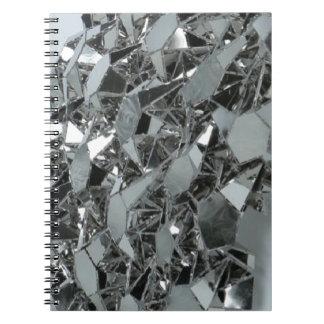 Pedazos rotos de cristal libro de apuntes con espiral