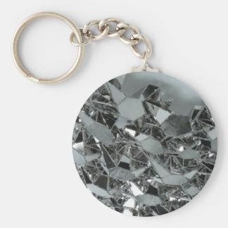Pedazos rotos de cristal llavero redondo tipo chapa