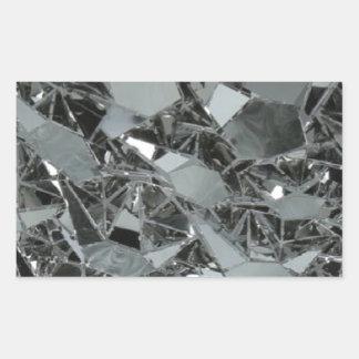 Pedazos rotos de cristal pegatina rectangular