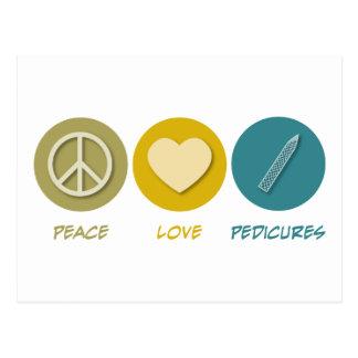 Pedicures del amor de la paz postal