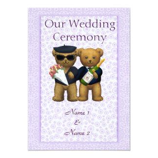 Pedido gay del boda de los pares de los osos de invitación 12,7 x 17,8 cm