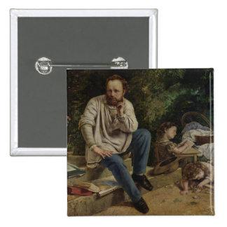 Pedro José Proudhon y sus niños Chapa Cuadrada 5 Cm