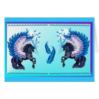 Pegaso con alas azul tarjeta pequeña
