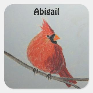 Pegatina adaptable cardinal rojo