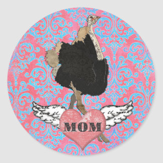 Pegatina adornado de la mamá de la avestruz