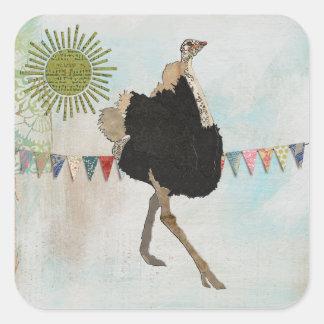 Pegatina adornado de la sol de la avestruz