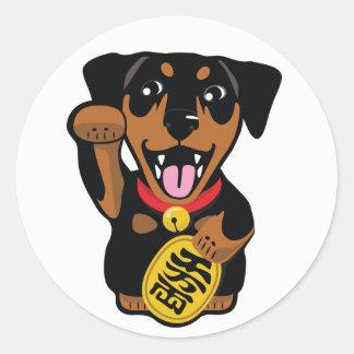 Pegatina afortunado del perro del Pin del minuto