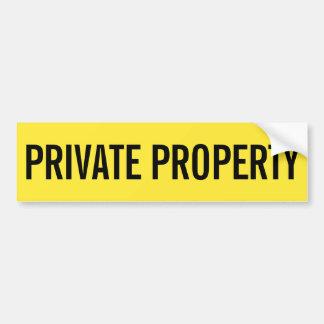 Pegatina amarillo y negro de la propiedad privada